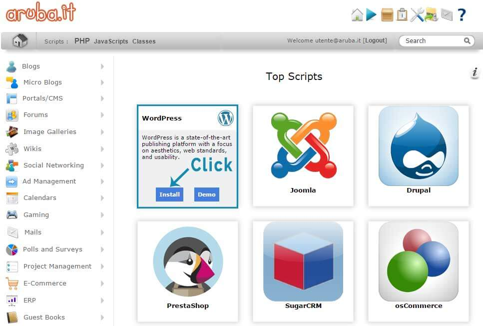 Come Installare WordPress su Aruba-Step4