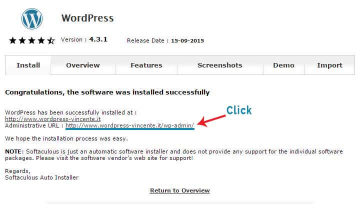 Come Installare WordPress su Aruba-Step6