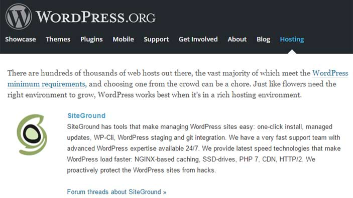 Hosting SiteGround raccomandato da WordPress.org
